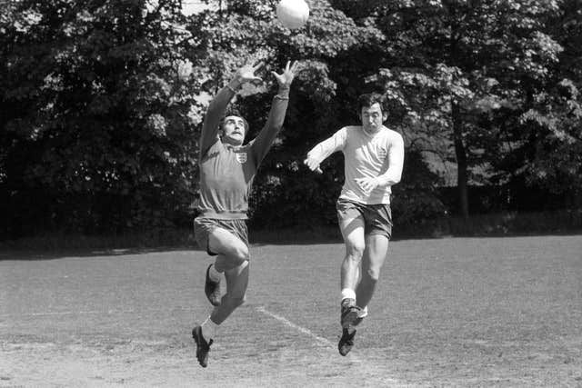 Peter Shilton (left) succeeded Gordon Banks (right) as England's number one