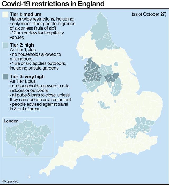 Covid-19 restrictions in England (as of October 27)
