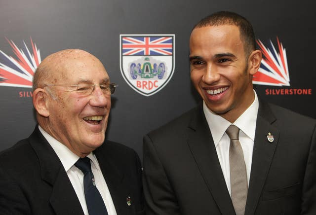 Sir Stirling Moss with Lewis Hamilton