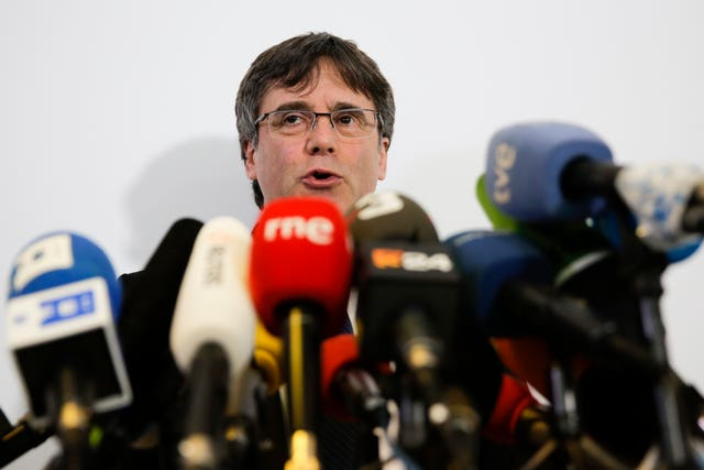 Carles Puigdemont at a news conference in Berlin