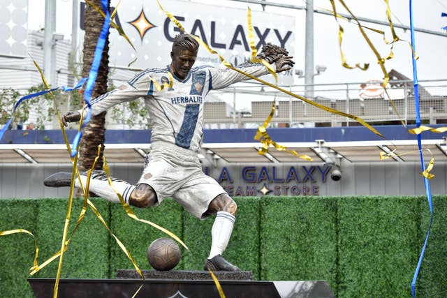 David Beckham statue at the LA Galaxy's ground
