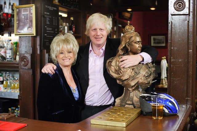 Mayor of London, Boris Johnson, with Peggy Mitchell, played by Barbara Windsor, in the Queen Vic