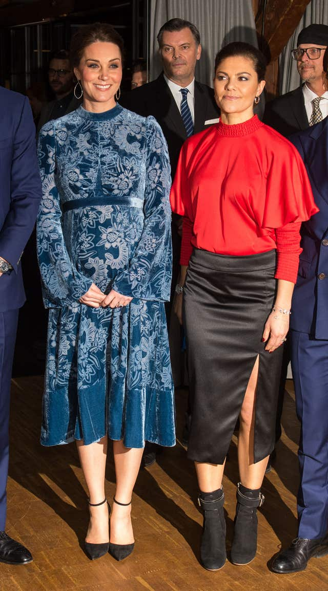The Duchess of Cambridge and Crown Princess Victoria attend a reception in Stockholm (Dominic Lipinski/PA)