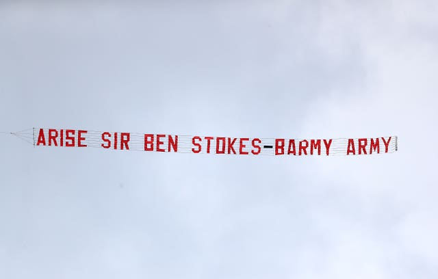 The Barmy Army declared Friday 'Ben Stokes Day' in honour of the all-rounder's World Cup heroics, with a plane trailing a banner that read: