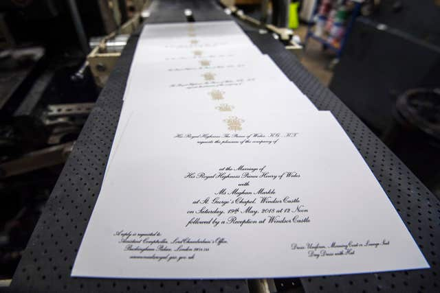 Invitations for Prince Harry and Meghan Markle's wedding in May, after they have been printed (Victoria Jones/PA)
