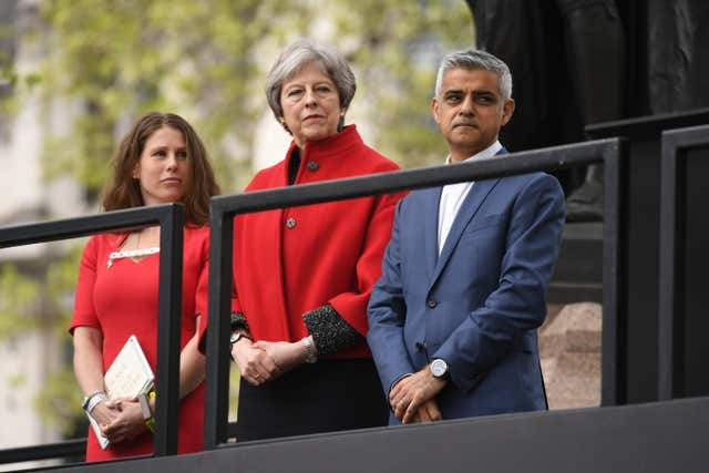 Caroline Criado-Perez (l to r), Theresa May and Sadiq Khan enjoy the unveiling ceremony (Stefan Rousseau/PA)