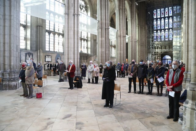 Worshippers socially distanced at Christmas Day service