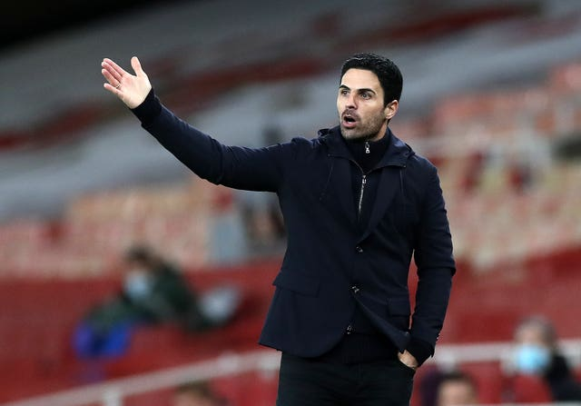 Arsenal manager Mikel Arteta during a Premier League match at the Emirates Stadium