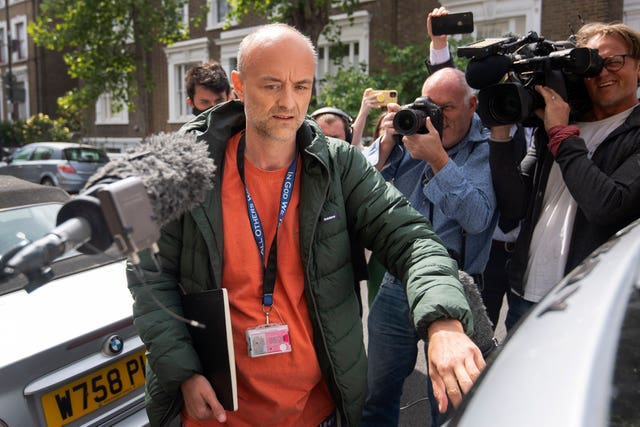 Prime Minister Boris Johnson's senior aide Dominic Cummings leaves his north London home (Victoria Jones/PA)