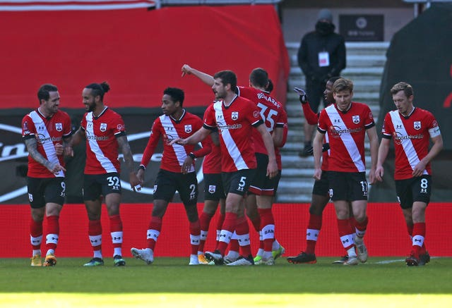 Southampton players celebrate the only goal