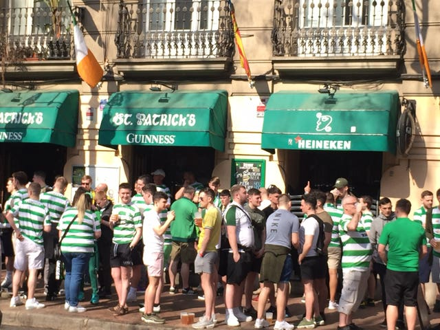 Celtic fans in Valencia