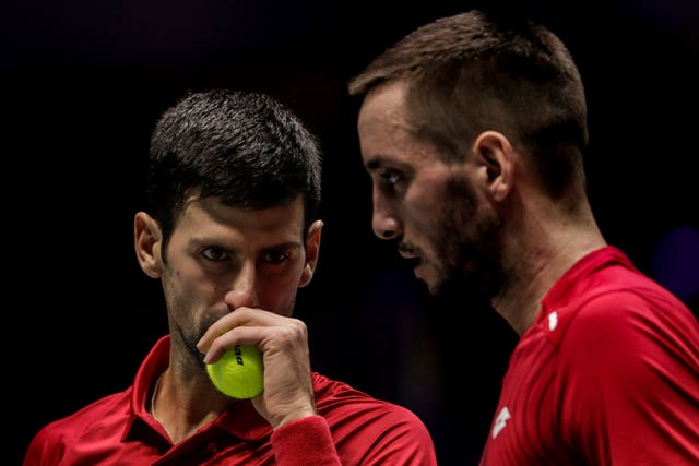 Novak Djokovic, left, and Viktor Troicki