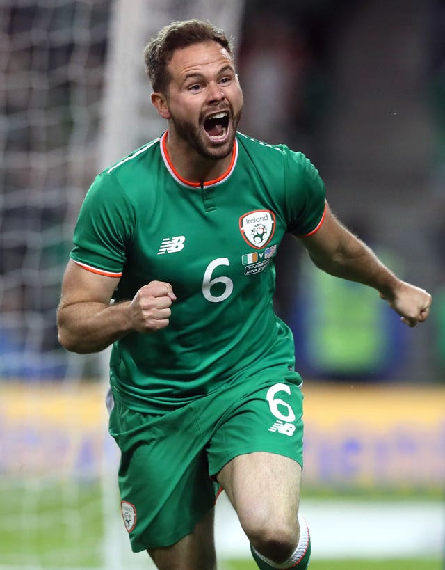 Republic of Ireland midfielder Alan Judge celebrates scoring his side's second goal against the United States