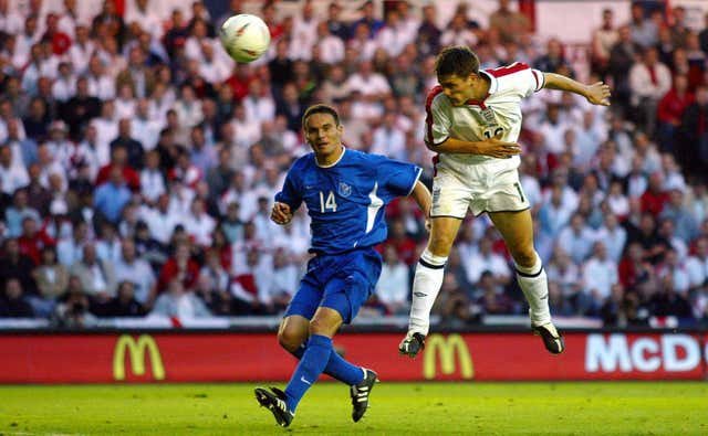 Michael Owen scores his and England's second goal against Slovakia at the Riverside Stadium
