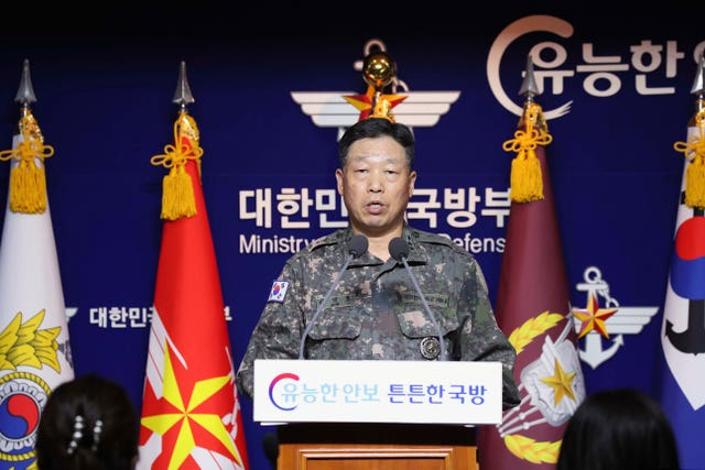 Lt Gen Ahn Young Ho of the South Korean Joint Chiefs of Staff speaks during a press conference