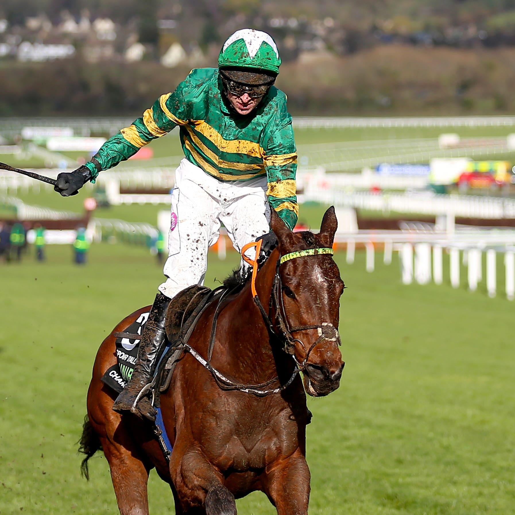 Espoir D'Allen and jockey Mark Walsh on their way to winning the Unibet Champion Hurdle on day one of the Cheltenham Festival