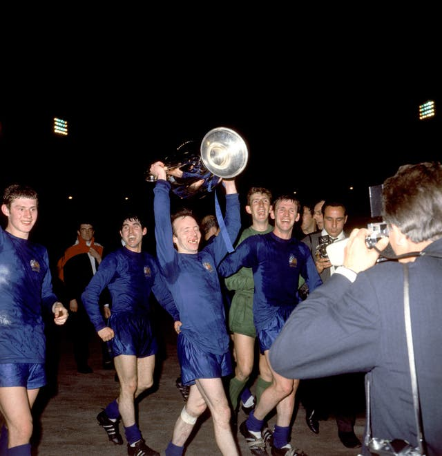 Manchester United's Stiles celebrates with the European Cup in 1968 following his side's 4-1 win over Benfica