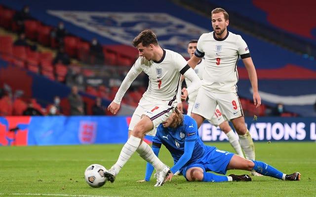 Mason Mount scores England's second goal against Iceland