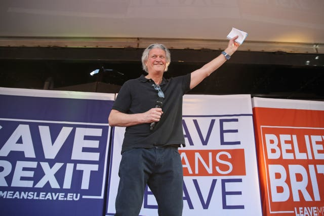 JD Wetherspoon chairman Tim Martin on stage in Parliament Square