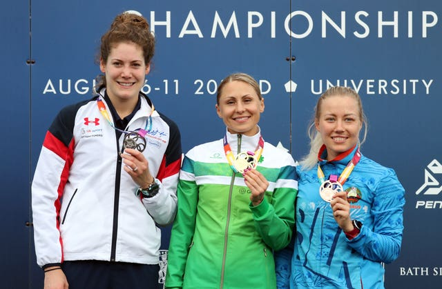 Great Britain's Kate French, left, won the silver medal at the 2019 Modern Pentathlon European Championships