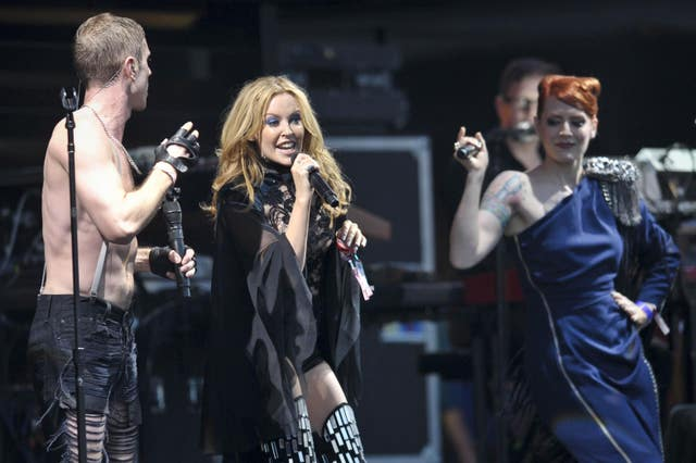 Kylie Minogue appears with the Scissor Sisters at Glastonbury