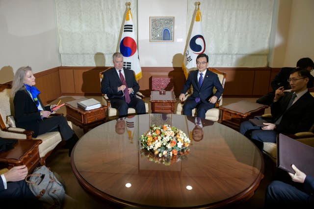 Mr Biegun at a meeting at the foreign ministry in Seoul, South Korea