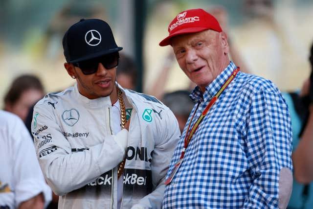 Lewis Hamilton, left, with Niki Lauda