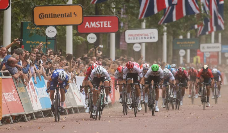 Elia Viviani, left, sprints to victory at the Prudential RideLondon Classic