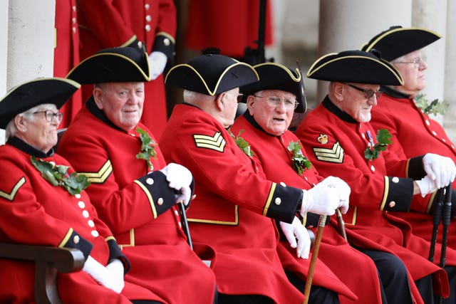 Chelsea Pensioners at the Royal Hospital Chelsea in west London, ahead of the arrival of the Duke of Sussex