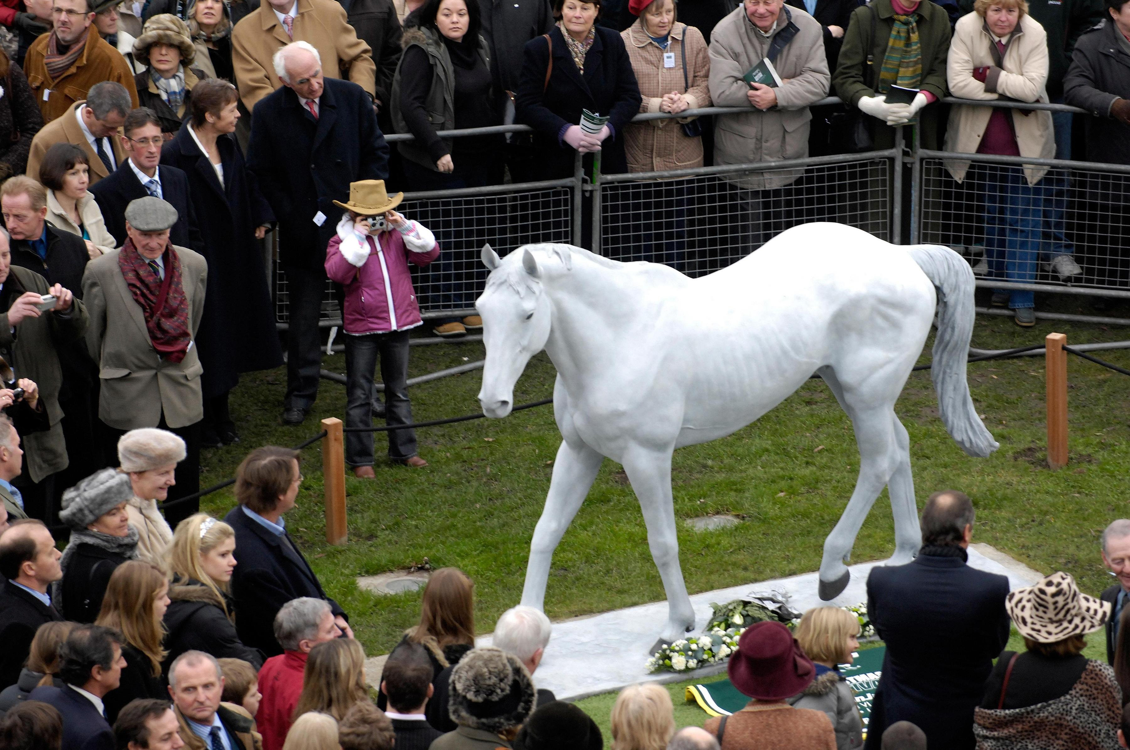 A statue of Desert Orchid stands at Kempton Park, home of the King George VI Chase, which the gallant grey won four times