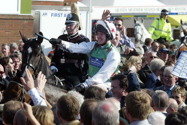 Monty's Pass is led in after his victory in the 2003 Grand National at Aintree