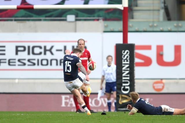 Scotland's Stuart Hogg scores his side's third penalty to win the Guinness Six Nations match at Parc y Scarlets, Llanelli