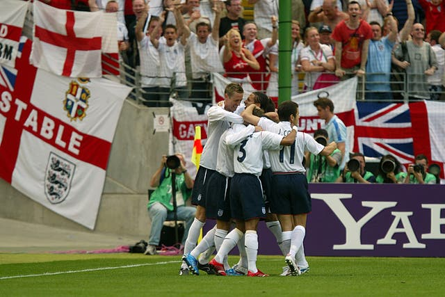 England stars celebrate the own goal that brought victory over Paraguay at the 2006 World Cup
