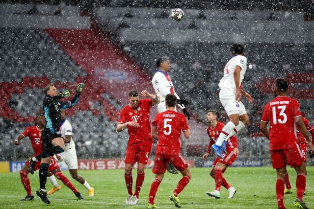 Paris St Germain were victorious in the Munich snow