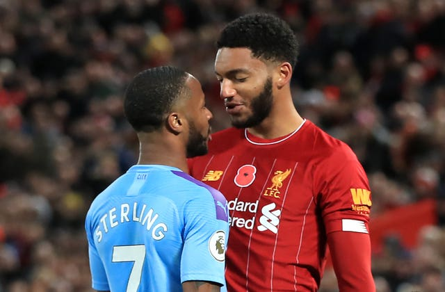 "Manchester City forward Raheem Sterling and Liverpool defender Joe Gomez clash at Anfield. Sterling admitted ""emotions got the better"" of him following the altercation with England team-mate Gomez during City's 3-1 defeat. The incident cost Sterling a place in Gareth Southgate's squad for a Euro 2020 qualifier against Montenegro"