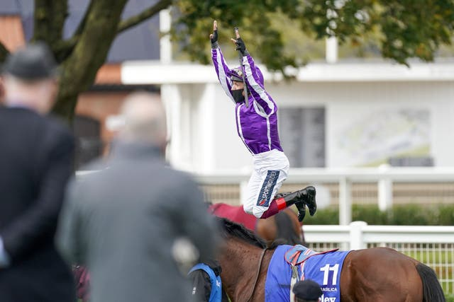 Frankie Dettori was jumping for joy after the Dewhurst
