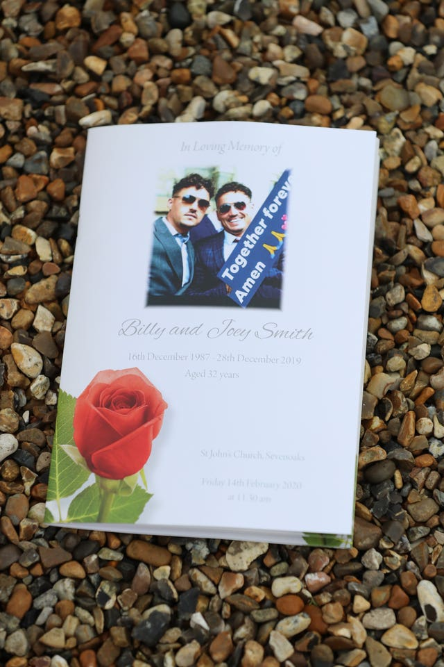 The order of service for the funeral of My Big Fat Gypsy Wedding's Billy and Joe Smith at St John the Baptist Church, Sevenoaks