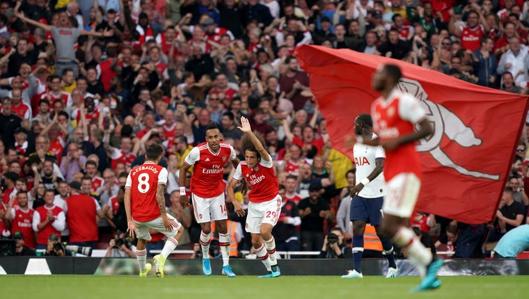 Pierre-Emerick Aubameyang (second left) struck the equaliser as Arsenal fought back from two goals down to draw 2-2 with Tottenham in the north London derby