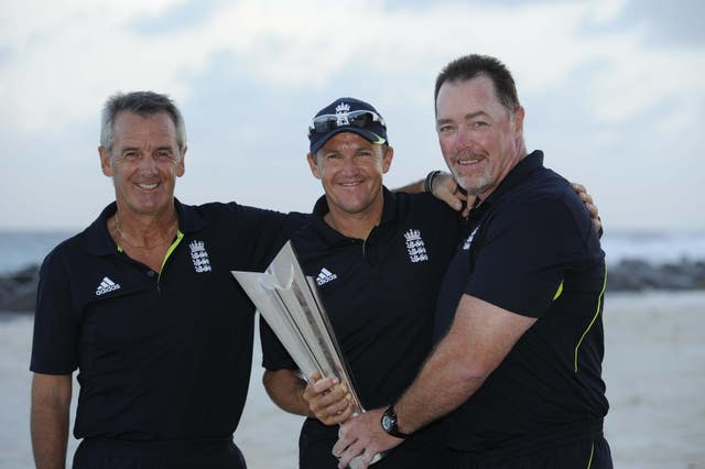 Andy Flower, centre, led England to World T20 glory in 2010