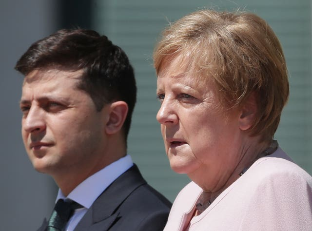 German Chancellor Angela Merkel with Ukraine's President Volodymyr Zelenskiy