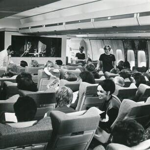 A passenger cabin in a Boeing 747 57 (BA/PA)
