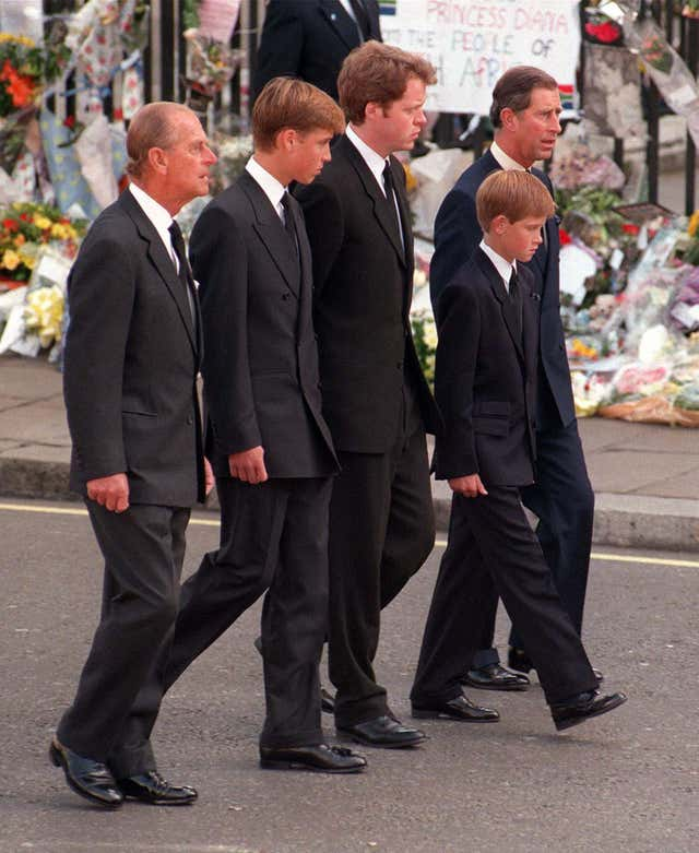 The Duke of Edinburgh, Prince William, Earl Spencer, Prince Harry and the Prince of Wales following the coffin of Diana, Princess of Wales (Adam Butler/PA)