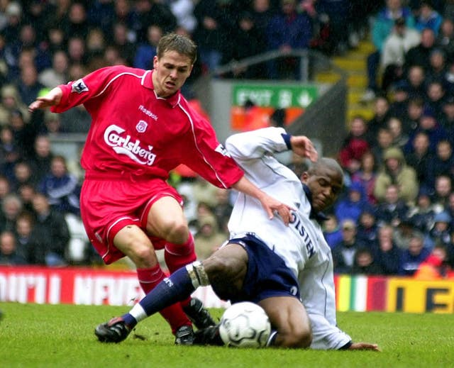 Michael Owen in action for Liverpool against Spurs
