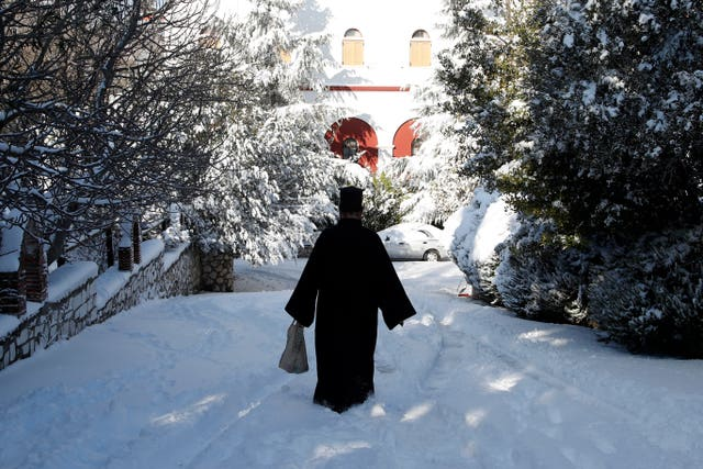 A Greek Orthodox priest at Penteli Monastery in northern Athens