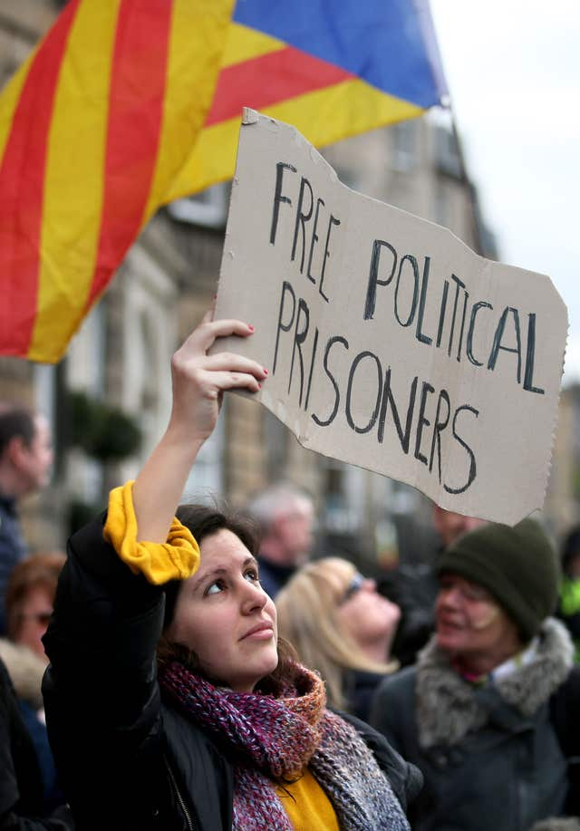 Protesters have condemned the actions of the Spanish authorities (Jane Barlow/PA)