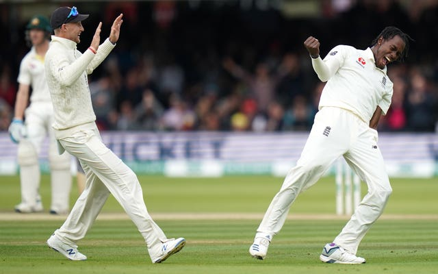 Jofra Archer celebrates on the final day of the second Ashes Test