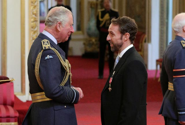 Gareth Southgate receives his OBE from the Prince of Wales