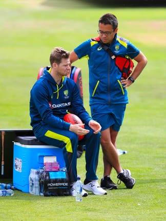 Steve Smith with Australia team doctor Richard Saw during the nets session at Headingley