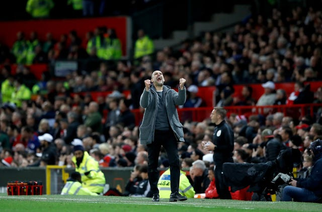 Manchester City manager Pep Guardiola celebrates his side's second goal