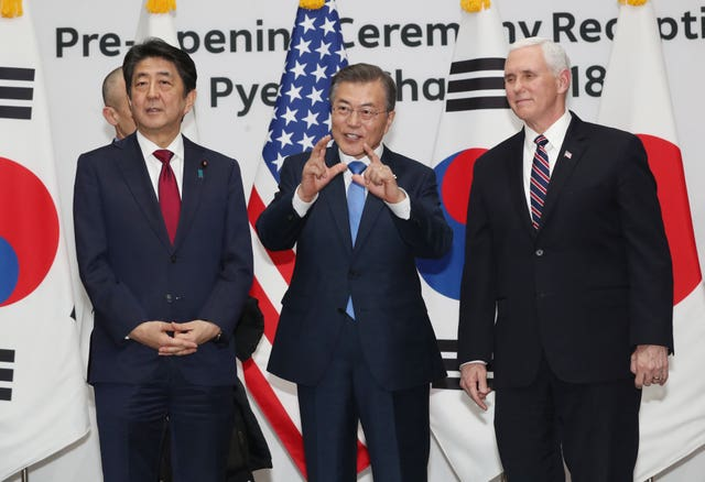 South Korean President Moon Jae-in, Mr Pence and Japanese PM Shinzo Abe (AP)